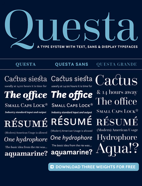 The questa project « myfonts.