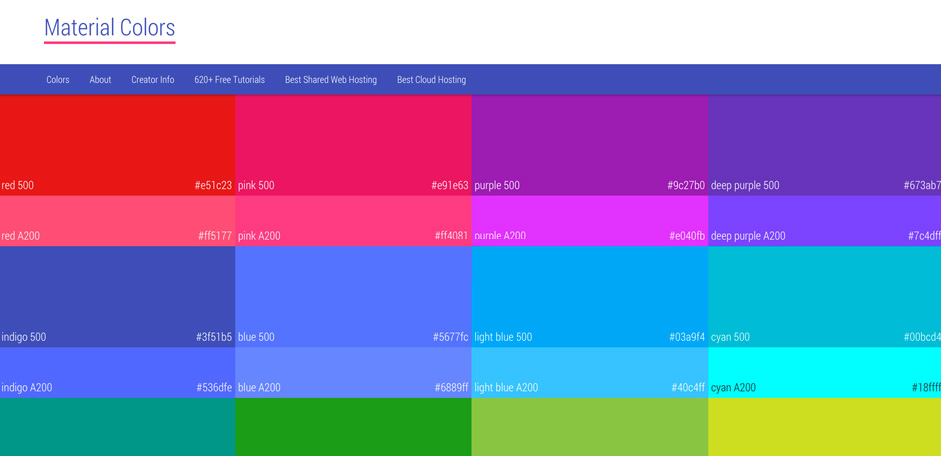 Trendy web color palettes and material design color for Web page background color codes