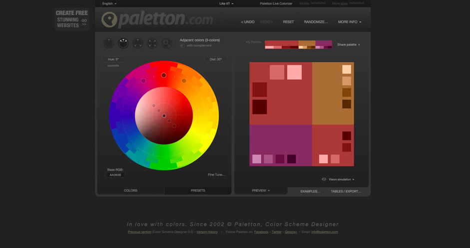 Paletton. A Designer Tool For Creating Color Combinations ...