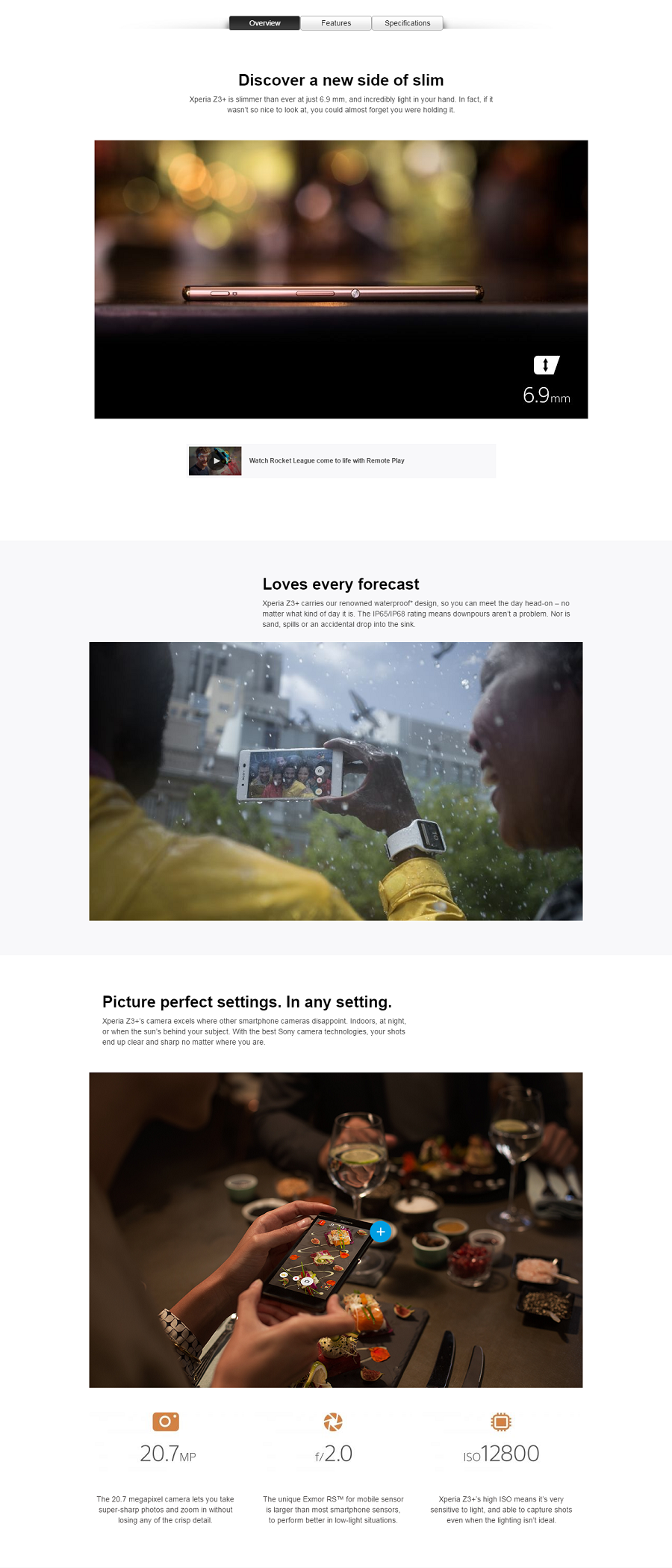 xperia landing page