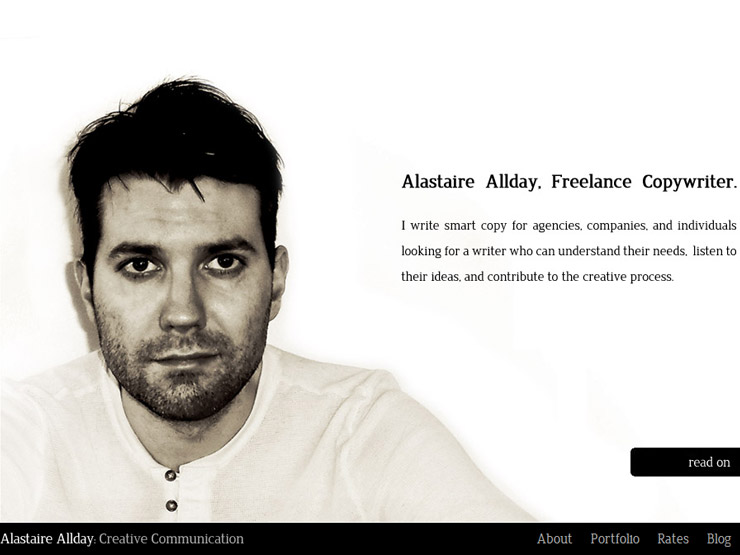 Alastaire Allday. Freelance Copywritter, London, UK