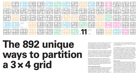 The 892 unique ways to partition a 3 x 4 grid