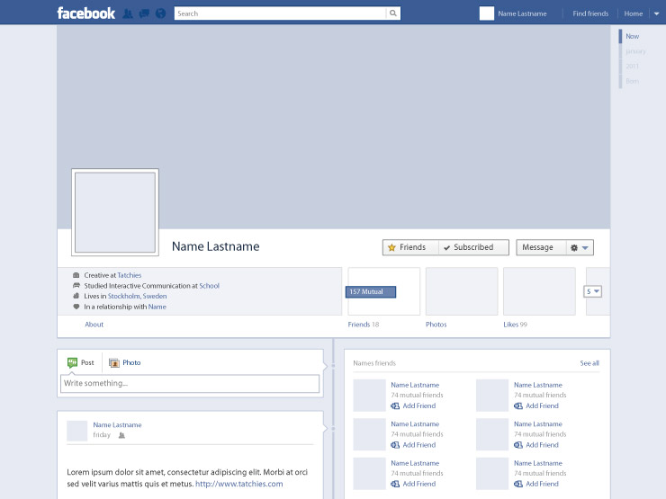 facebook timeline profile template