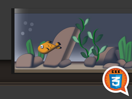 Pure CSS3 Animated fish tank, by Tayo