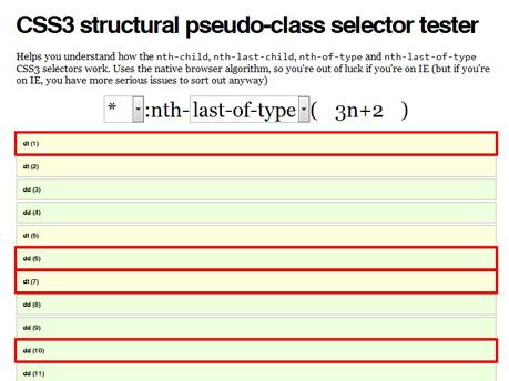 CSS3 structural pseudo-class selector tester