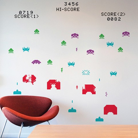 Space Invaders ~ RE-STIK. Wall decals