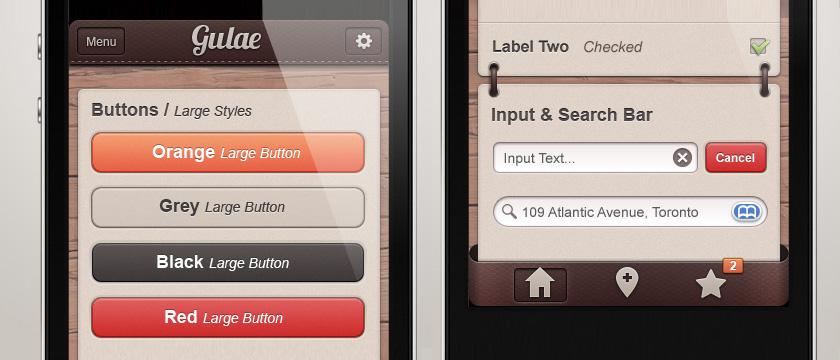 Gulae iPhone App UI Kit Psd