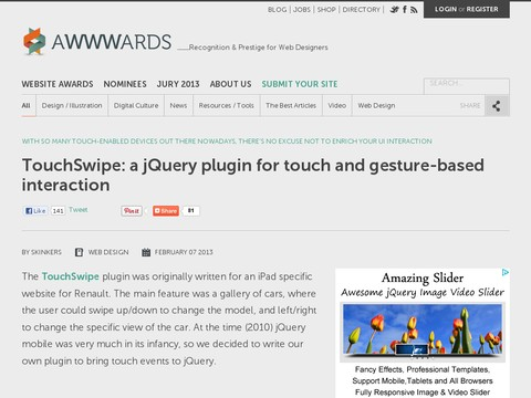 TouchSwipe: a jQuery plugin for touch and gesture-based interaction
