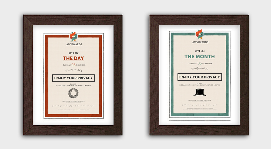 Site of the Month Certificates