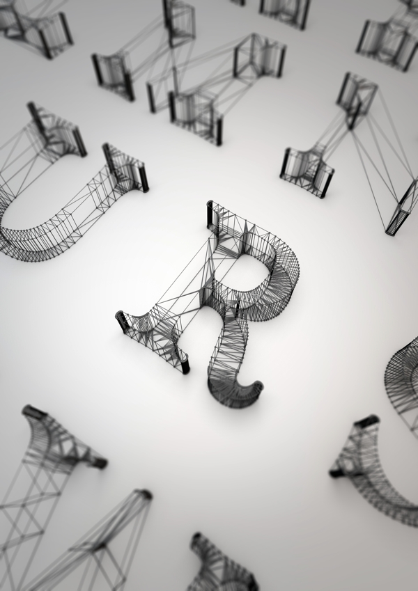 typography design created in cinema 4d
