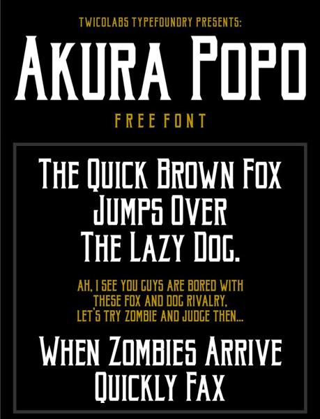 free fonts 2014 Akura Popo
