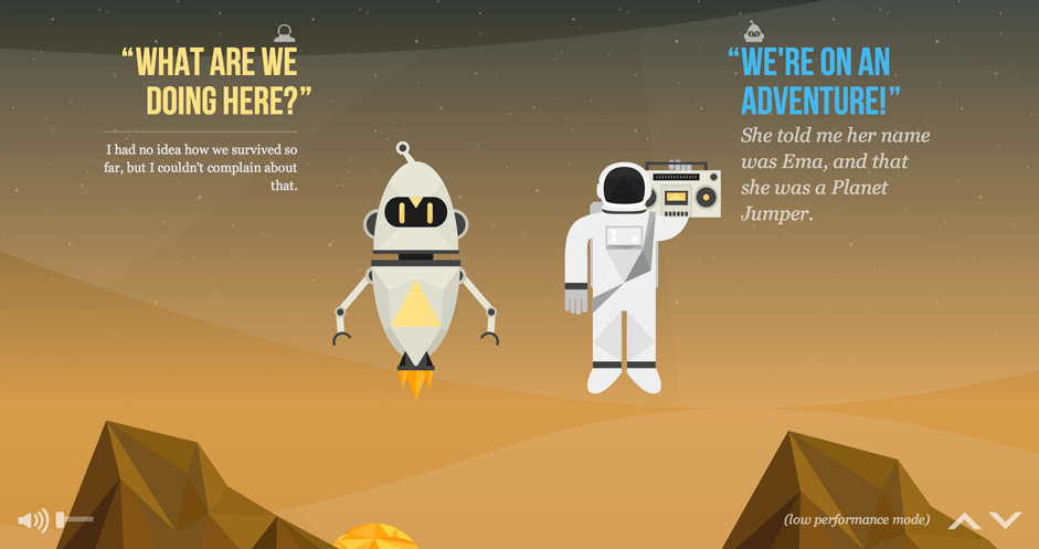 The nasa project is a highly interactive and engaging scrolling site, with lots fun animated SVG graphics