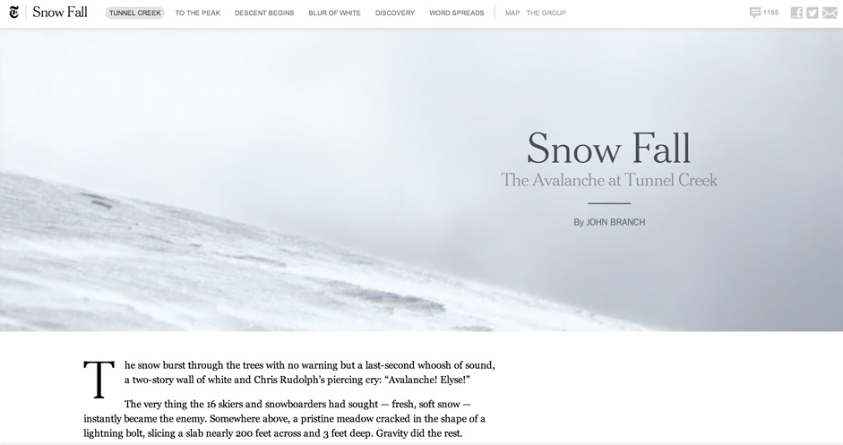 Snow Fall is a pulitzer winning interactive article published on the NYT, that revolutionized the way we think about interactive news publishing.
