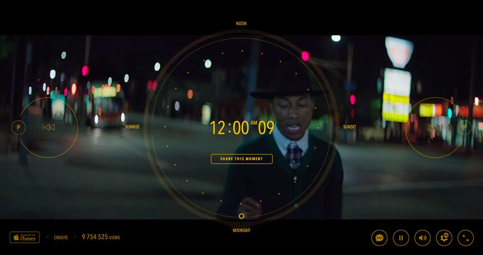 24 hours of happy is a fullscreen experience that pushed the boundaries of web technologies and interactive video