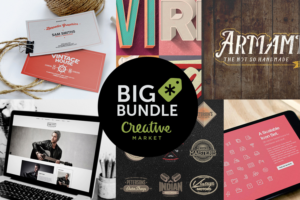 Impressive Design Bundle by Creative Market with more than 100 ...