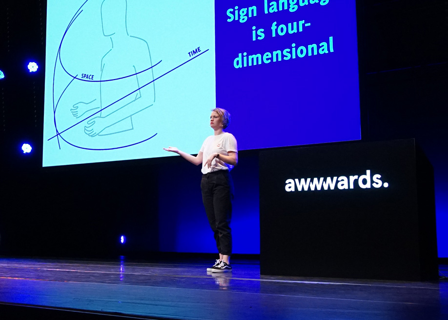 Talk: Inclusive Design, Designing for Deaf People Helps Everyone by Marie van Driessche at Awwwards Conference Amsterdam