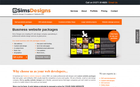 Sims Designs, website designers