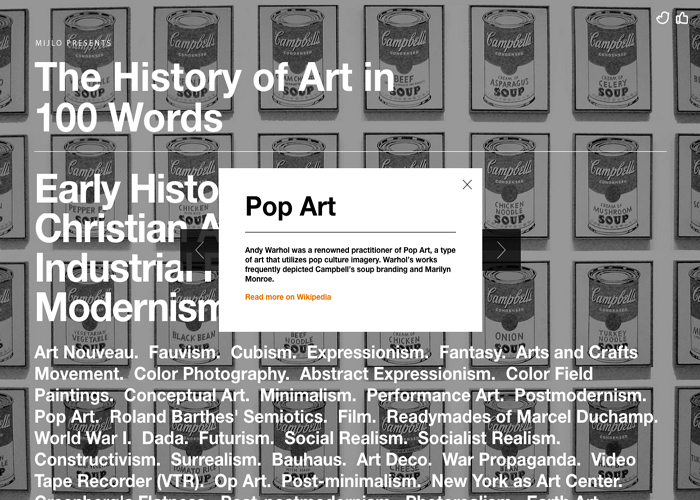 History of Art in 100 Words