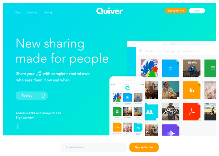 Quiver, new sharing made for people. | CSS Website