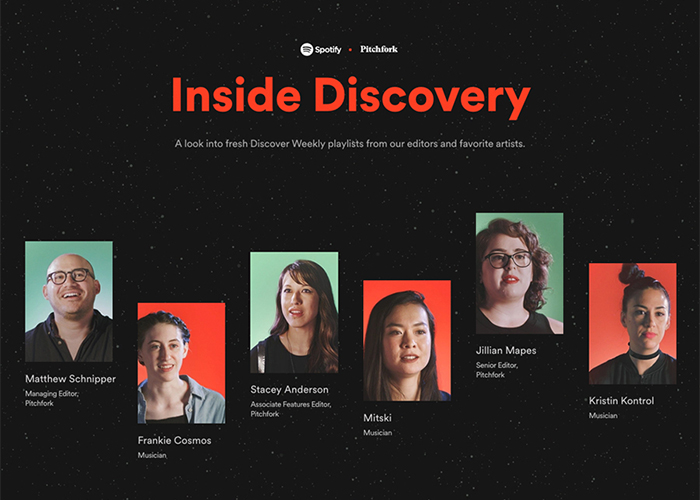 Awwwards website of the day: Spotify x Pitchfork: Inside Discovery