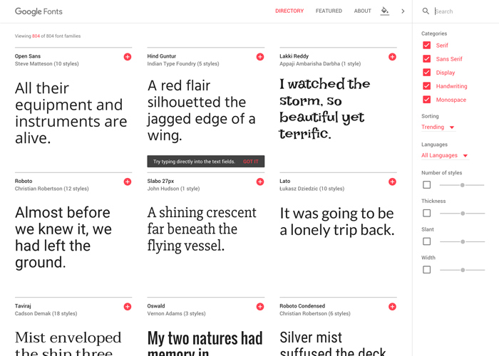 Awwwards website of the day: Google Fonts