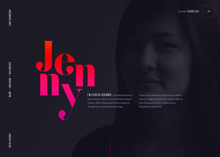 Awwwards website of the day: Jenny Johannesson – Portfolio
