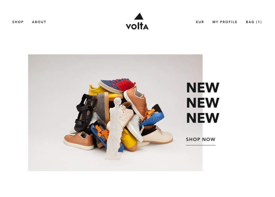 Awwwards website of the day: Volta Footwear