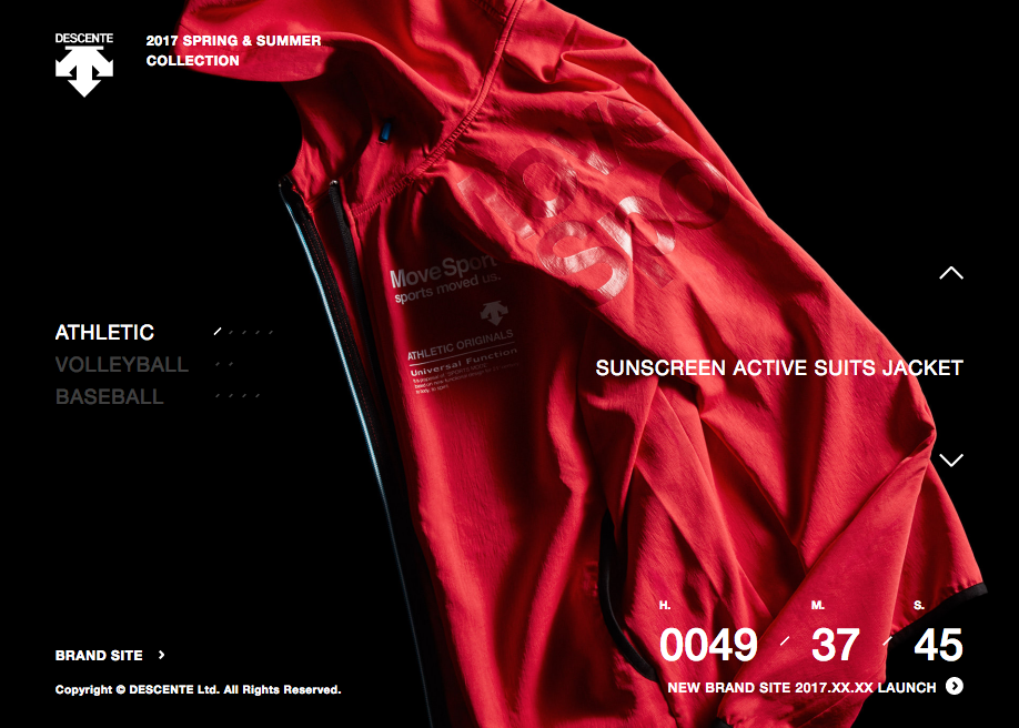 Awwwards website of the day: DESCENTE 2017SS COLLECTION