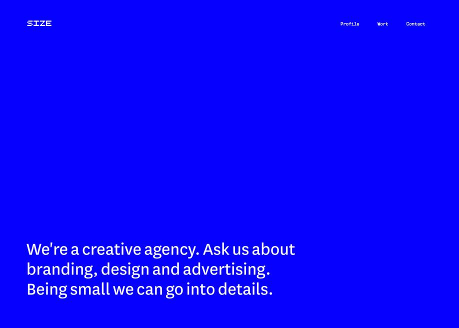 Awwwards website of the day: Size Agency Website