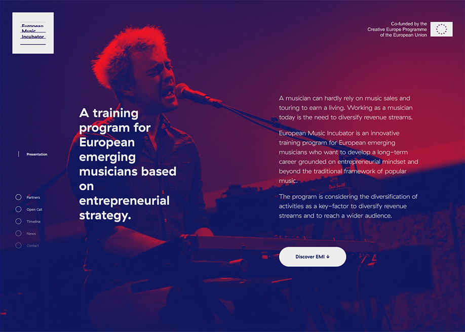 Awwwards website of the day: European Music Incubator