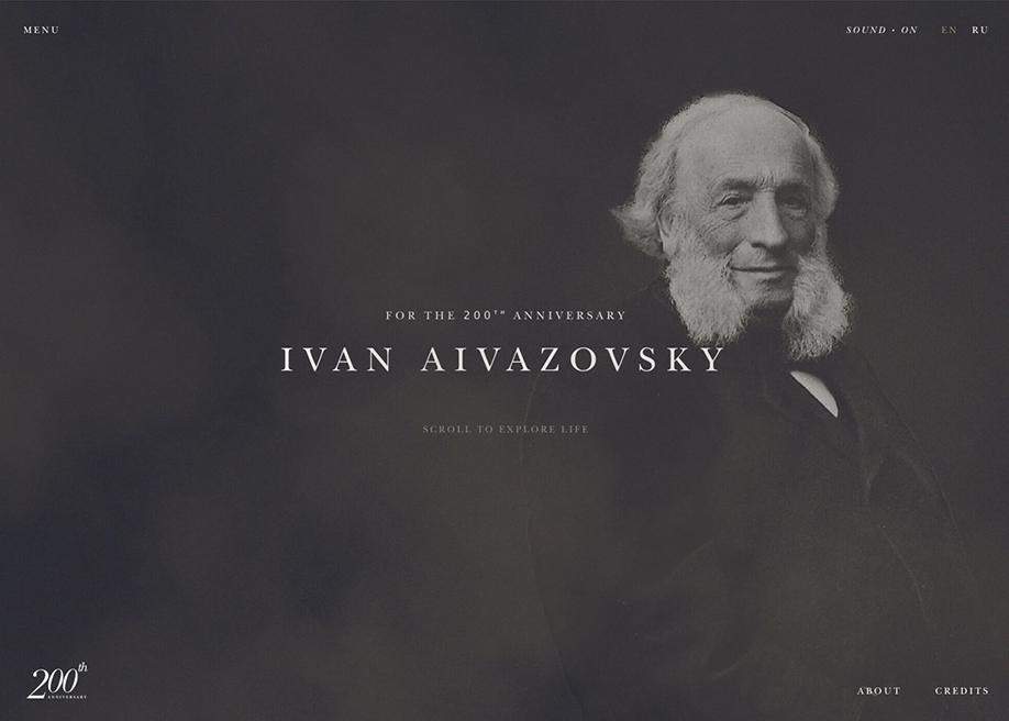 Awwwards website of the day: Ivan Aivazovsky