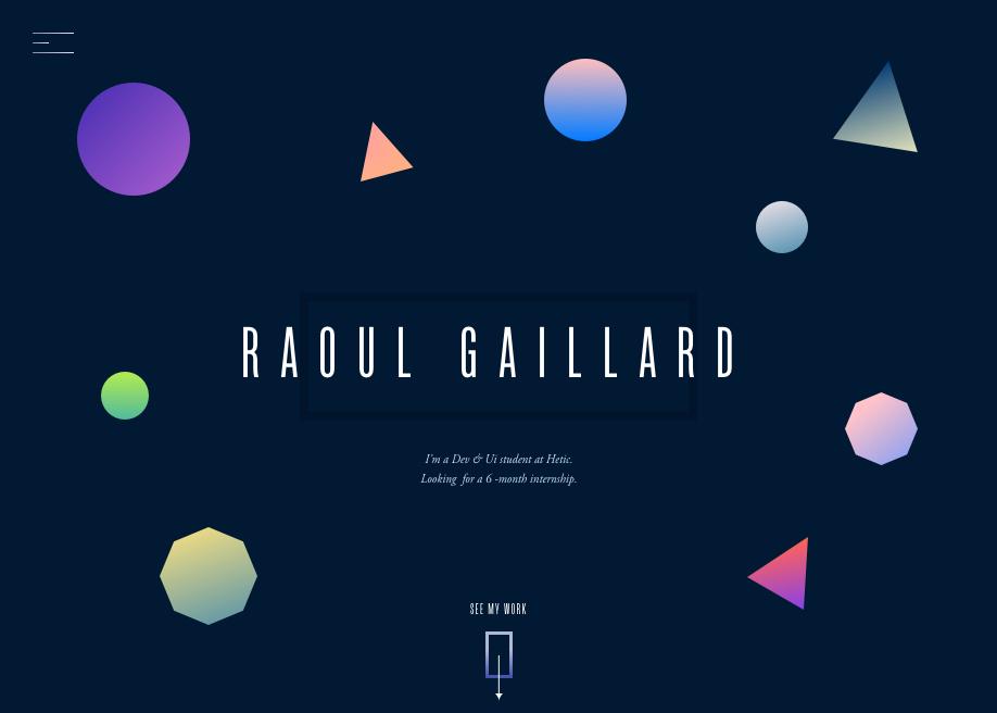 Awwwards website of the day: Raoul Gaillard - Portfolio