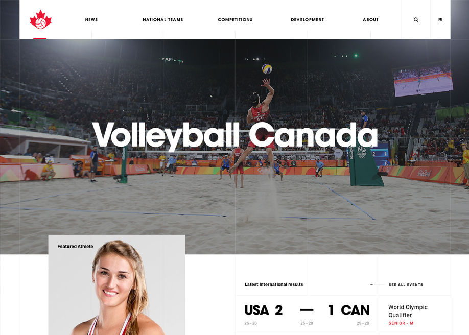 Awwwards website of the day: Volleyball Canada