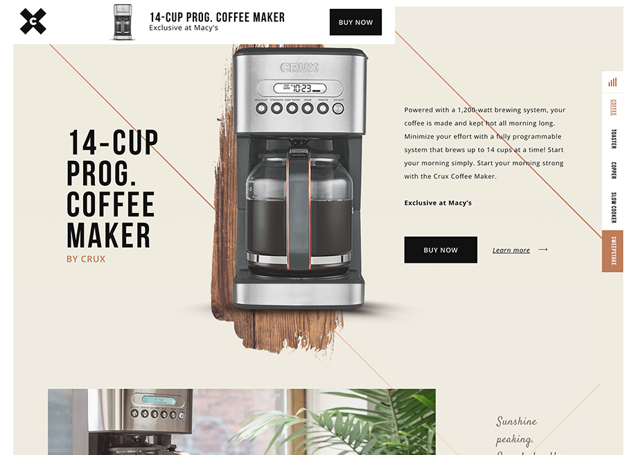 Awwwards website of the day: Crux Kitchen Lookbook