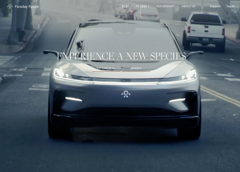 Awwwards website of the day: Faraday Future