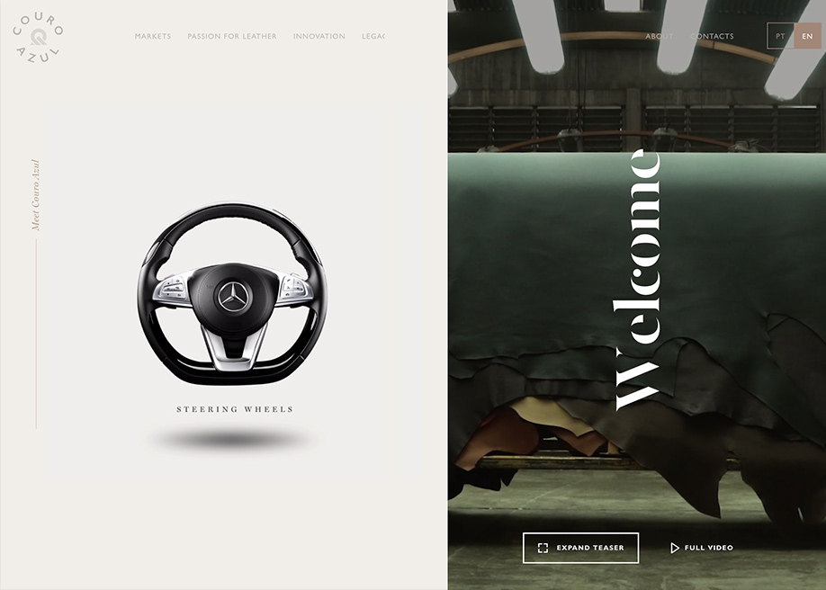Awwwards website of the day: Couro Azul