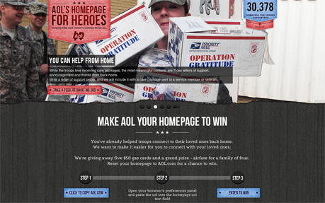 AOL's Homepage for Heroes